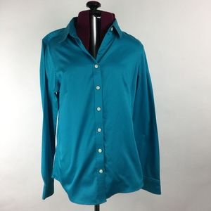 Banana Republic Peacock Blue Button Up Shirt 10